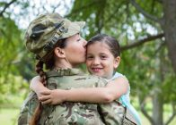 MIlitary Mom Kissing Child Outside